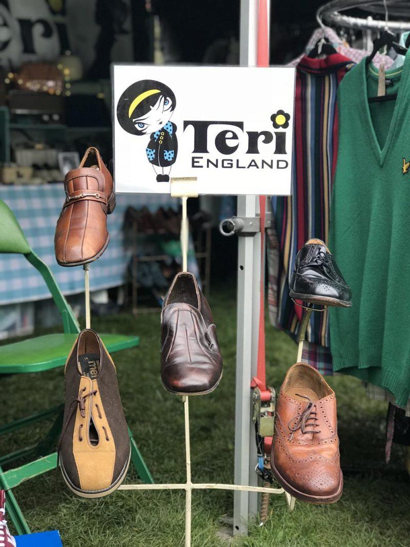 Teri England Attire vintage shoes displayed on a shoe rack