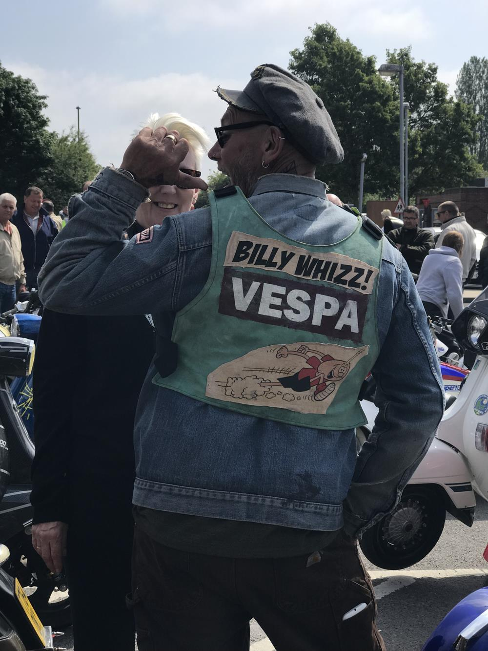 Snowy showing off his Billy Whizz vest with Vespa logo