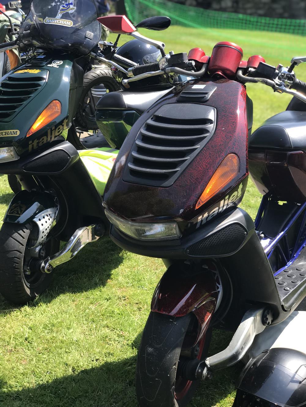 Dark red Italjet Dragster scooter