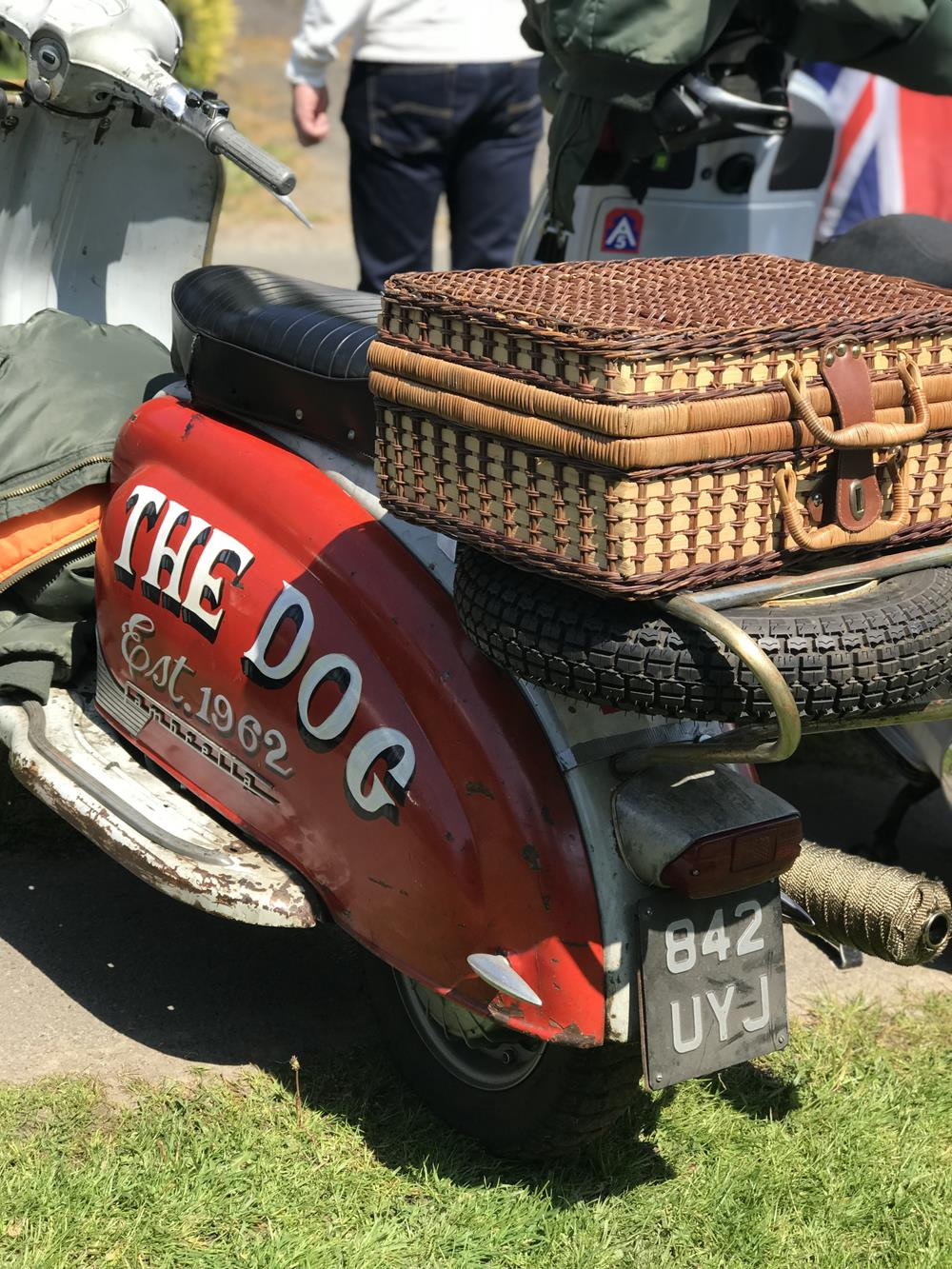 Lambretta with The Dog on the side panel and basket on the back rack