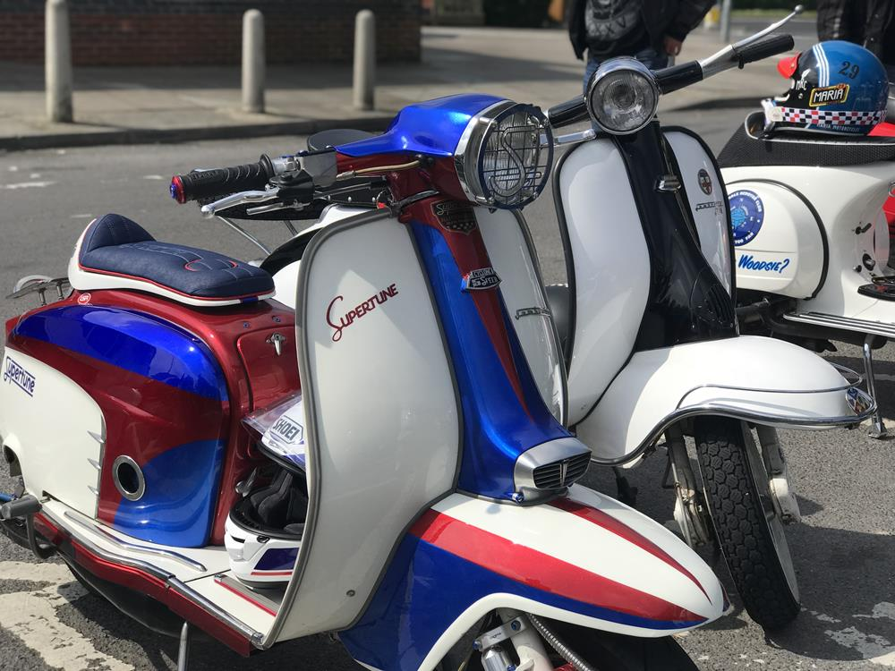 Red, white and blue Supertune Lambretta scooter