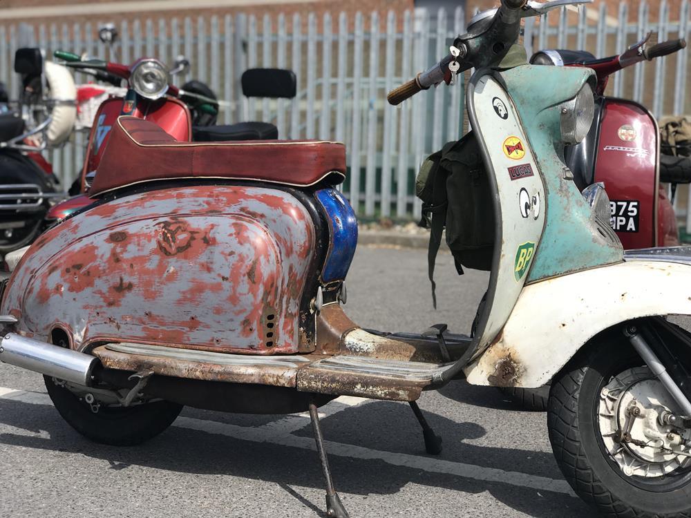 Rusty, rat rod scooter, Lambretta Series 1 side view
