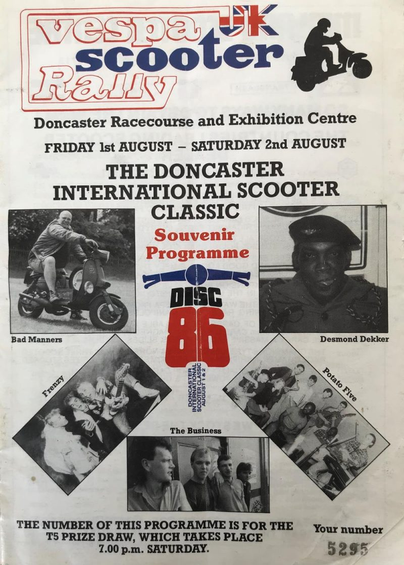 DISC 86 rally magaine featuring Desmond Dekker, Buster Bloodvessel, Frenzy, The Business and Potato Five