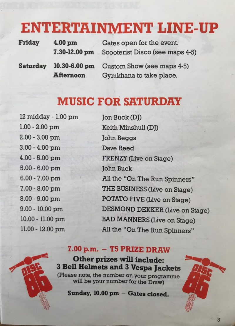 The DISC 86 rally lineup and band timings