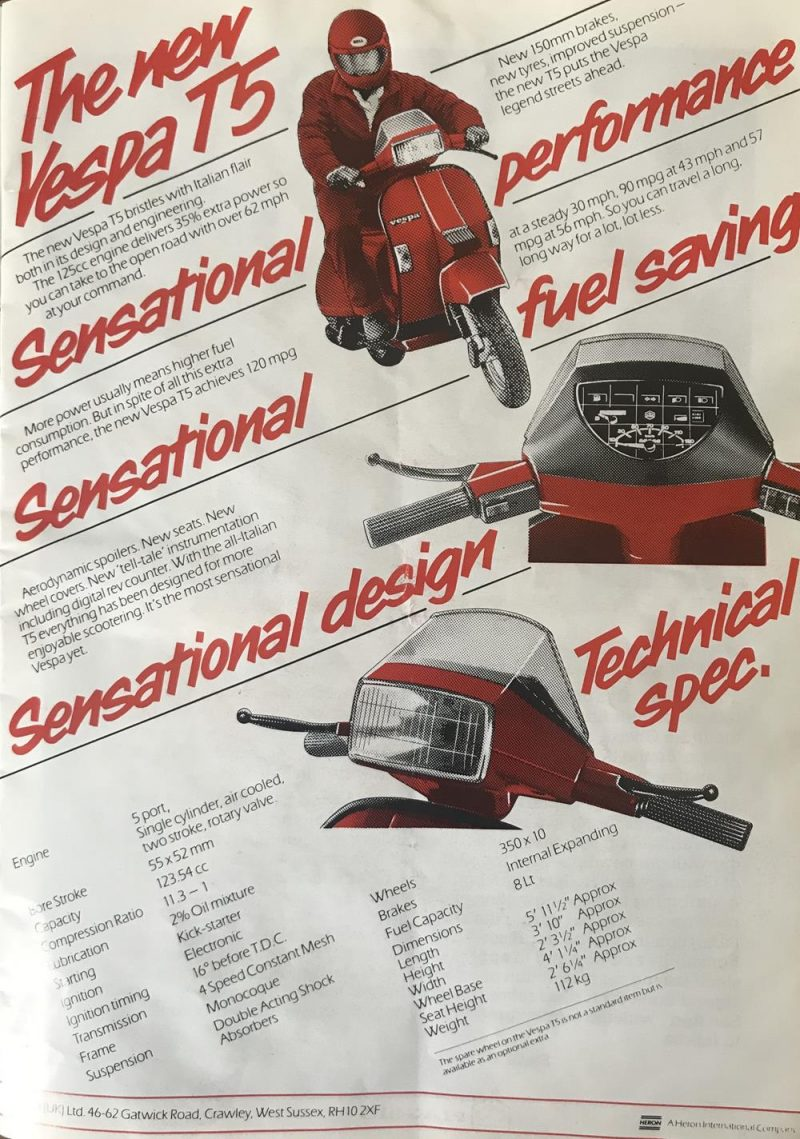 Vespa T5 advert and specification from 1986