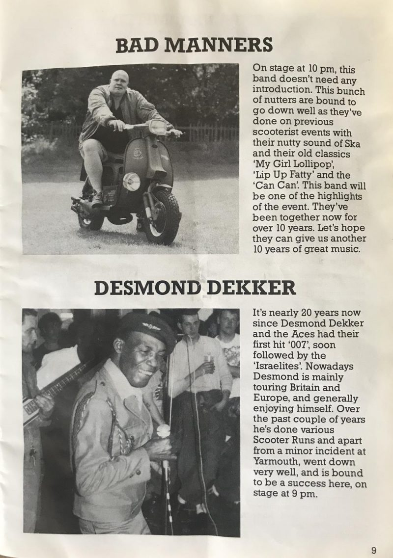 Bad Manners and Desmond Dekker from DISC 86 rally magazine