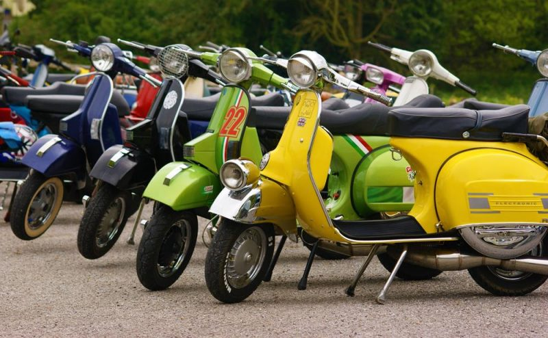 Row of colourful scooters at the Bulldog Run in Midhurst